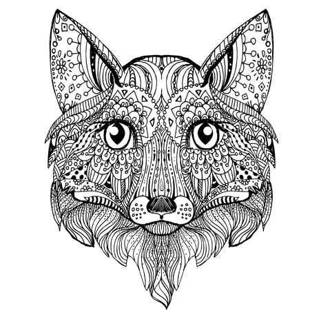 main dessiné encre doodle renard sur fond blanc Vecteurs