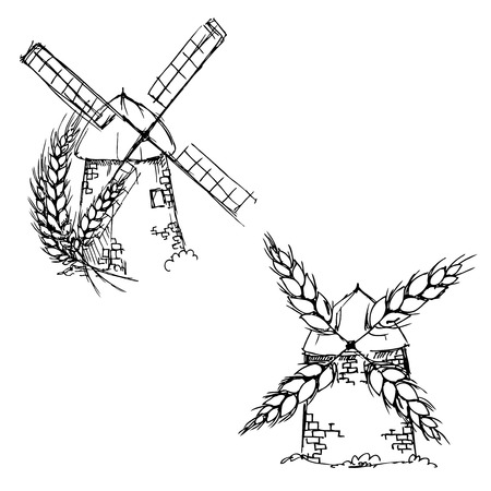 hand drawn ink windmill, corn on white background