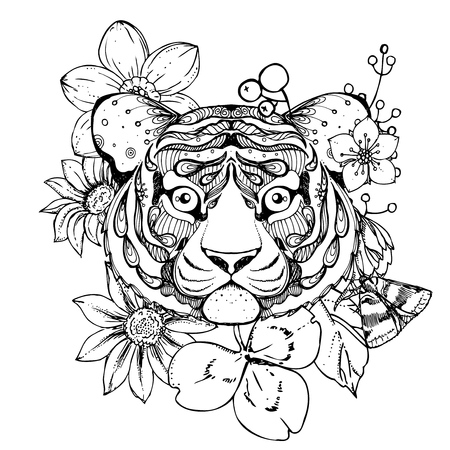 tiger page: hand drawn ink doodle tiger  and flowers on white background. Coloring page - zendala, design forr adults, poster, print, t-shirt, invitation, banners, flyers.