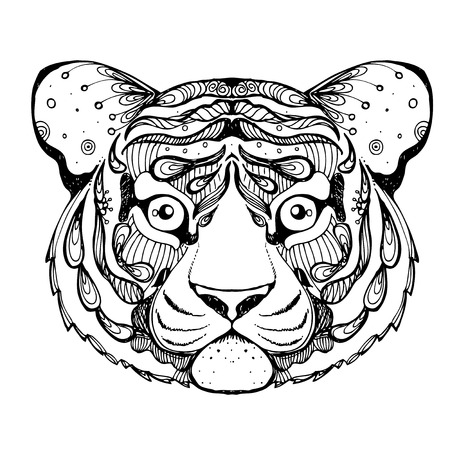 tiger page: hand drawn ink doodle tiger on white background. Coloring page - zendala, design forr adults, poster, print, t-shirt, invitation, banners, flyers.
