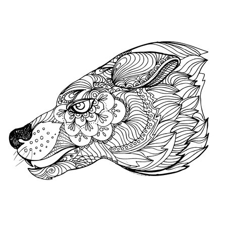 hand print: hand drawn ink doodle wolf on white background. Coloring page - zendala, design forr adults, poster, print, t-shirt, invitation, banners, flyers. Illustration