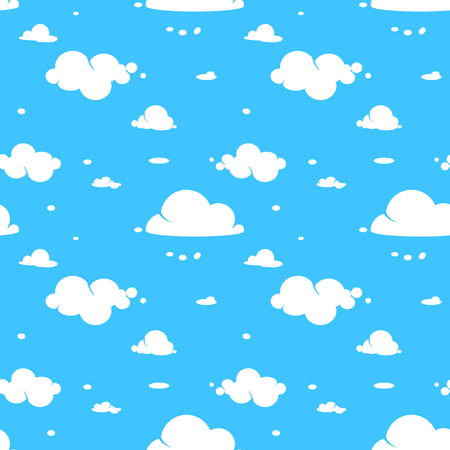 vector seamless pattern of white clouds on blue sky.