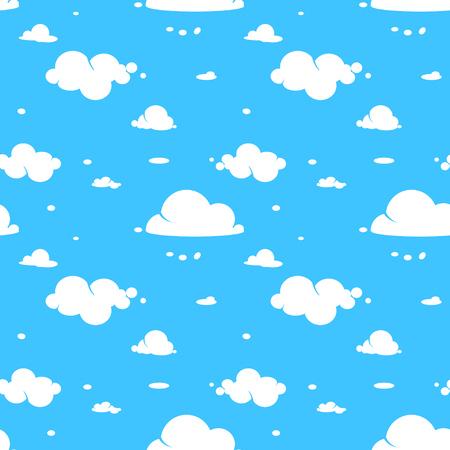 Vektor nahtlose Muster der weißen Wolken am blauen Himmel.