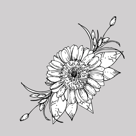 hand drawn ink floral ornament with flowers gerbera. vector eps 10