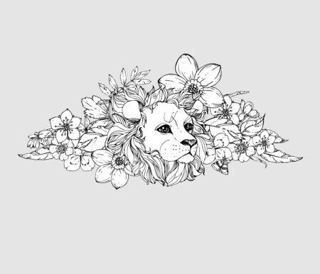 Tinte Doodle Pfau Und Blumen Auf Weißem Hintergrund. Ausmalbilder ...
