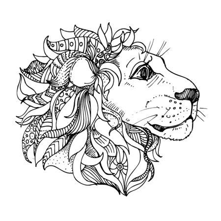 hand drawn ink doodle lion on white background. Coloring page - zendala, design for adults, poster, print, t-shirt, invitation, banners, flyers. Vektoros illusztráció