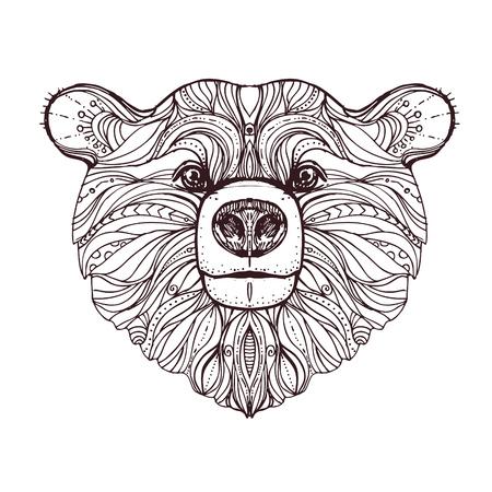 Dibujado A Mano Oso Doodle De La Tinta En El Fondo Blanco. Dibujo ...