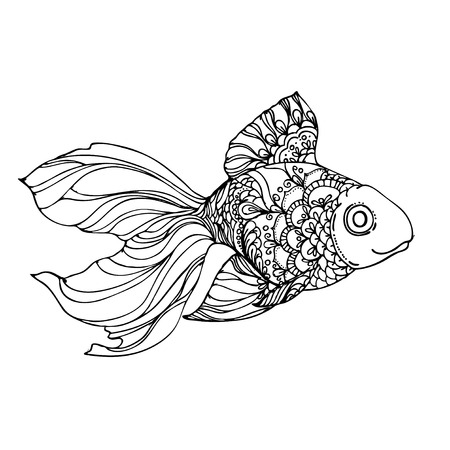 golden fish: hand drawn ink golden fish on white background. Coloring page -  design for adults, poster, print, t-shirt, invitation, banners, flyers.