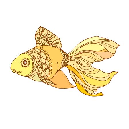 Dibujado A Mano De Tinta Peces De Oro Sobre Fondo Blanco. Dibujo ...