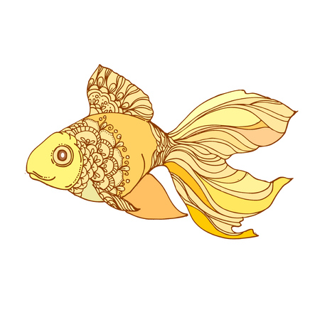 golden fish: hand drawn ink golden fish on white background. Coloring page -  design for poster, print, t-shirt, invitation, banners, flyers. Illustration