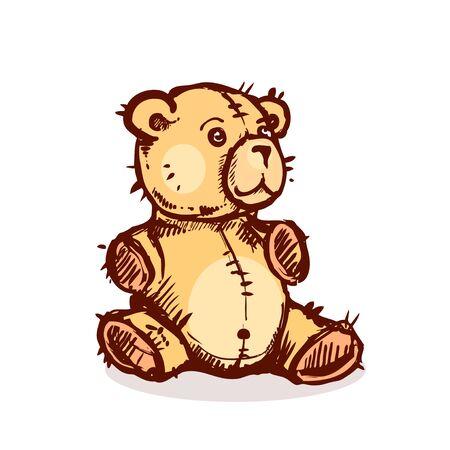 teddy bear vector: hand drawn vector illustration with brown teddy bear. vector eps 10 Illustration