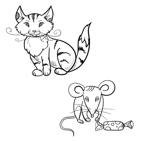 cat and mouse: hand drawn vector childrens coloring book of cat, mouse with candy. vector eps 10