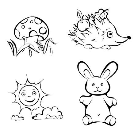 Dibujado A Mano Para Colorear Para Niños De Vectores Con La Nube De ...