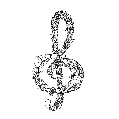 hand drawn ink doodle treble clef on white background. Coloring page - zendala, design for adults, poster, print, t-shirt, invitation, banners, flyers. Illustration