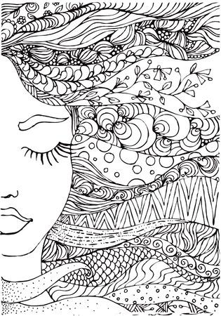 hand getrokken inkt doodle dames gezicht en wapperende haren op een witte achtergrond. Kleurplaat - zendala, ontwerp forr volwassenen, poster, print, t-shirt, uitnodiging, banners, flyers. Stock Illustratie