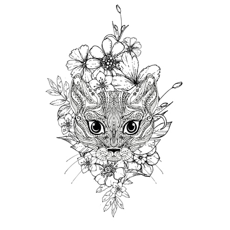 ink doodle cat and flowers on white background. Coloring page -  design for adults, poster, print, t-shirt, invitation