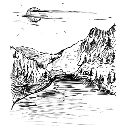 illustrated: landscape with mountains and lake. vintage illustration. Illustration