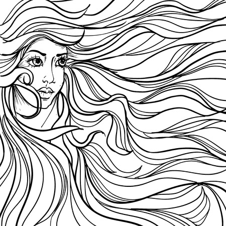 stylish hair: ink doodle woman face and flowing hair on white background. design for adults, poster, print, t-shirt, invitation