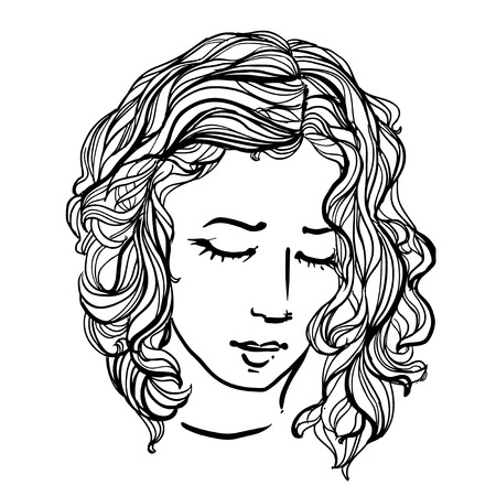 frizz: doodle woman with curly hair on white background. Coloring page design for adults, poster, print, t-shirt, invitation