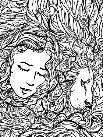 frizz: illustration of doodle lion and woman with curly hair on white background. sketch. Illustration