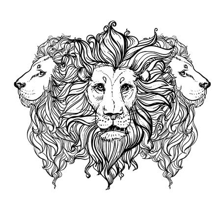 ion: illustration of doodle triple ion. sketch. Illustration