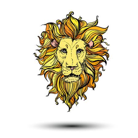 Ilustración de doodle color león. bosquejo.