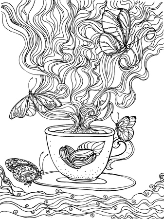 pairs: ink doodle coffee cup and coffee pairs on white background. butterfly. design for adults, print, t-shirt sketch.