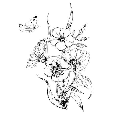 butterfly flying: ink floral ornament with flowers petunia and cosmos on white background. butterfly flying over a flower