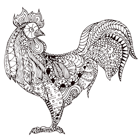 cock hand: illustration of doodle cock. Illustration