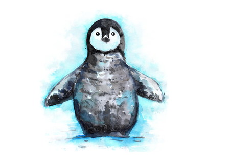 antarctic: hand drawn penguin watercolor illustration. little penguin in the snow.