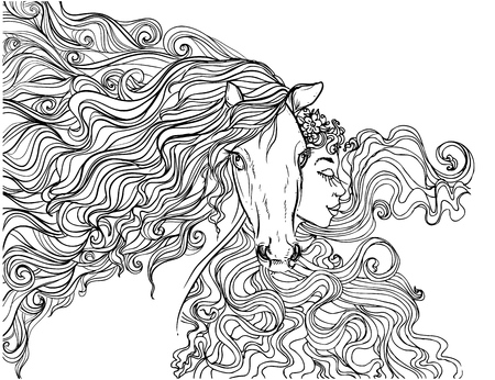 hand drawn ink doodle horse with mane and girls on white background. design for adults, poster, print, t-shirt, invitation, banners, flyers. sketch. vector eps 8.