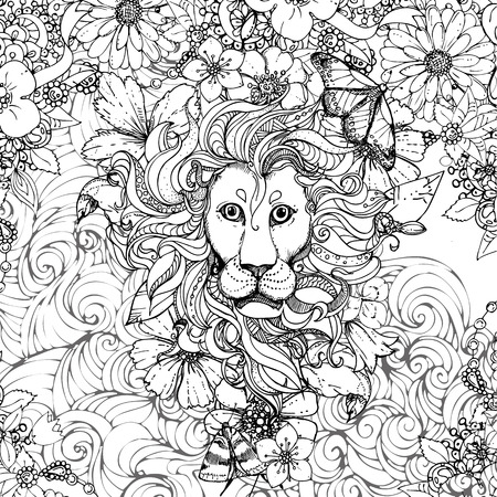 Hand drawn vector illustration of doodle lion and flowers, butterfly. design for adults, poster, print, t-shirt, flyers. sketch. Vector eps 8