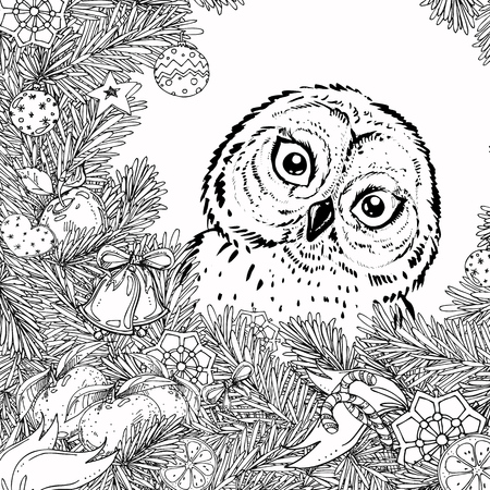 New Year and Christmas frame for coloring book for adult and children. Pattern with owl. hand-drawn vector decorative element.