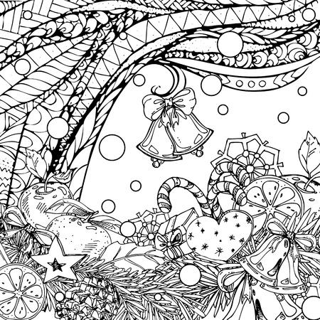 Año Nuevo Y Navidad Patrón Transparente Para El Libro Para Colorear ...