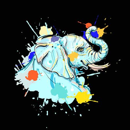 hand drawn illustration of color elephant on black background . design for poster, print, t-shirt, flyers. sketch. vector eps 8. Illustration