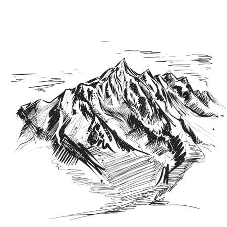 Detailed hand drawn ink black illustration of mountain. sketch. Vector eps 8 Ilustracje wektorowe