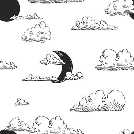 Detailed hand drawn black and white vector seamless pattern of clouds, sun, moon. sketch. Elements in graphic style label, card, sticker, menu, package.
