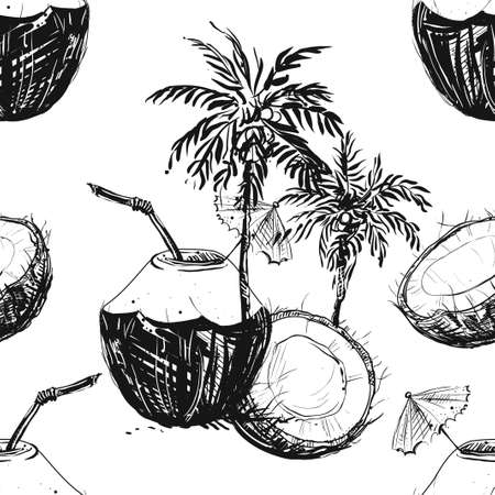 Detailed hand drawn black and white vector seamless pattern of coconut palms. sketch. Elements in graphic style label, card, sticker, menu, package. Çizim
