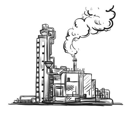 Hand drawn sketch black and white of oil-well industry. Vector illustration. Elements in graphic style label, card, sticker, menu, package.