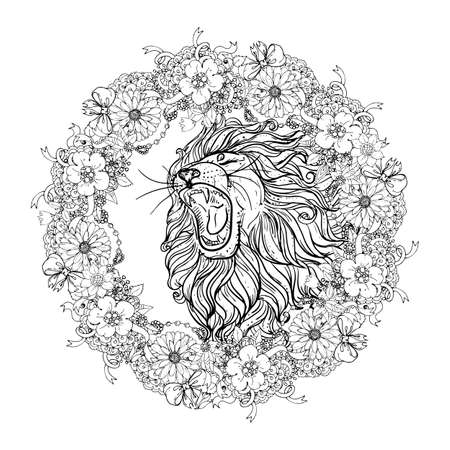 Hand drawn illustration of doodle lion with open mouth and flowers. sketch. vector eps 8 Illustration