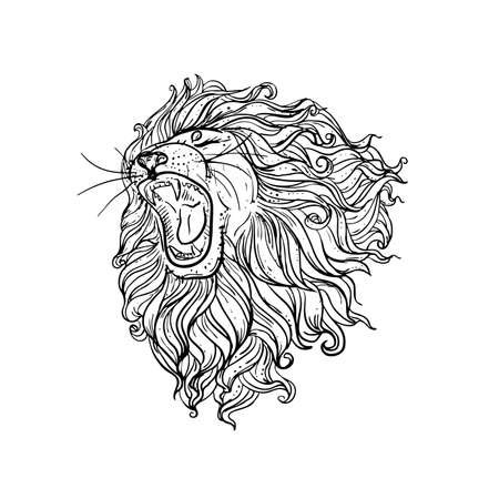 Hand drawn illustration of doodle lion with open mouth and flowers. sketch. vector eps 8.
