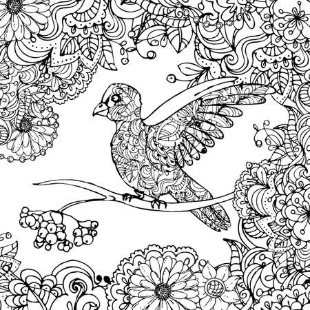 hand drawn vector illustration of doodle bird sitting on branch in leaves isolated on white background.