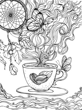 hand drawn ink doodle coffee cup and coffee pairs and dream catcher on white background. design for adults, print, t-shirt, flyers. sketch. vector eps 8.