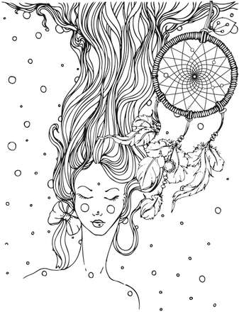 hand drawn ink doodle girls face and flowing hair and dream catcher on white background. design for adults, poster, print, t-shirt, invitation, banners, flyers. sketch. vector eps 8.