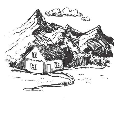 Set mountains sketch. Hand drawn vector illustration. Mountain travel, highlands range. Dot and line art. Rocky peaks. Landscape silhouette.