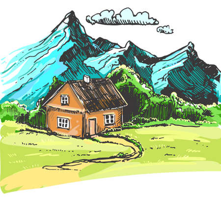 Detailed hand drawn color illustration of mountains, home. sketch. Vector. Elements in graphic style label, card, sticker, menu, package. Travel, highlands range. Rocky peaks