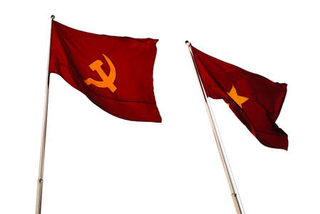hammer and sickle: Two red flags with the hammer and sickle and with a star Stock Photo