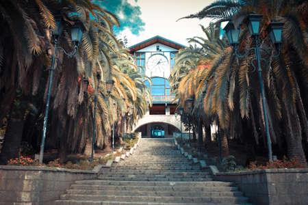 abkhazia: Gagripsh - restaurant, landmark of the city of Gagra, Abkhazia. Toned image Stock Photo