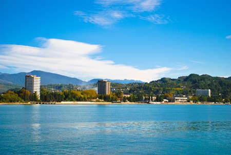 sukhumi: Coast Sukhumi. View from the sea. Abkhazia Stock Photo