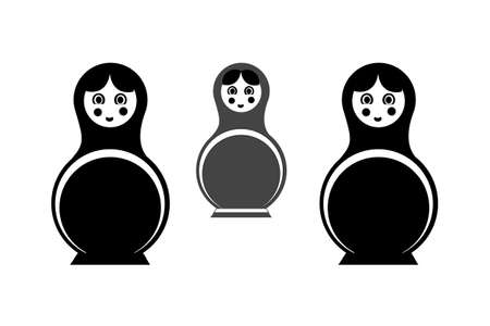 matrioska: Black and grey Russian national doll - matryoshka Illustration